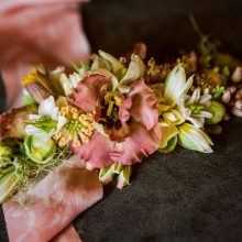 Student work from the wearable flowers bonus session of the 2019 Whidbey Flower Workshop   image by Suzanne Rothmeyer