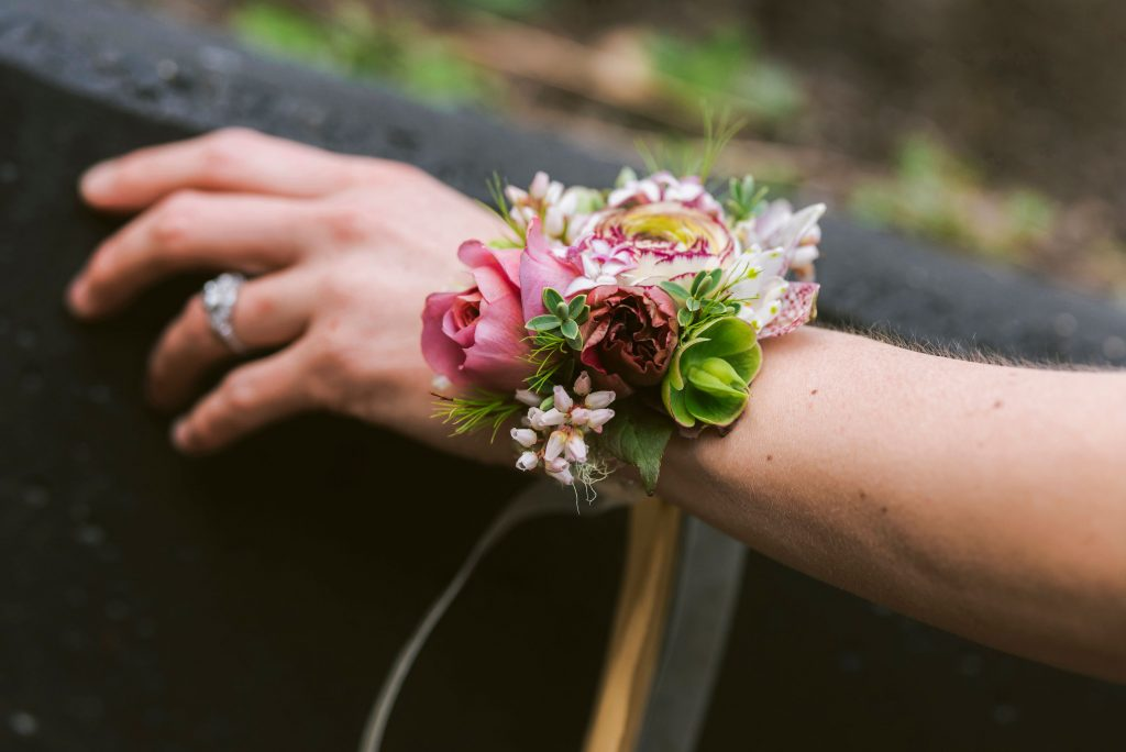 Fresh flower corsage bracelet made at the Whidbey Flower Workshop 2019