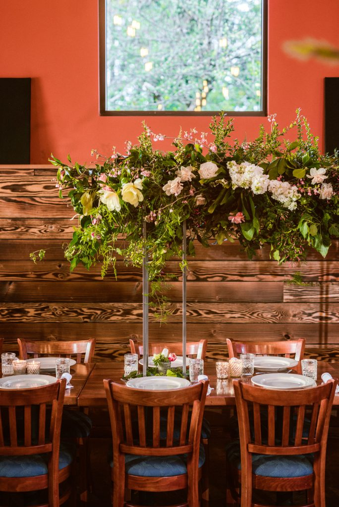 Harlow Stand with a Long foam free elevated centerpiece made at the Whidbey Flower Workshop